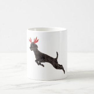Christmas Black Toy Poodle Dog Reindeer Antlers Coffee Mug