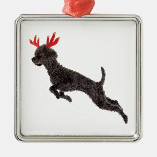 Christmas Black Toy Poodle Dog Reindeer Antlers Metal Ornament