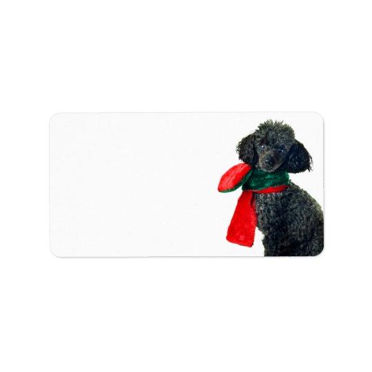 Christmas Black Toy Poodle Dog Reindeer Red Scarf Label
