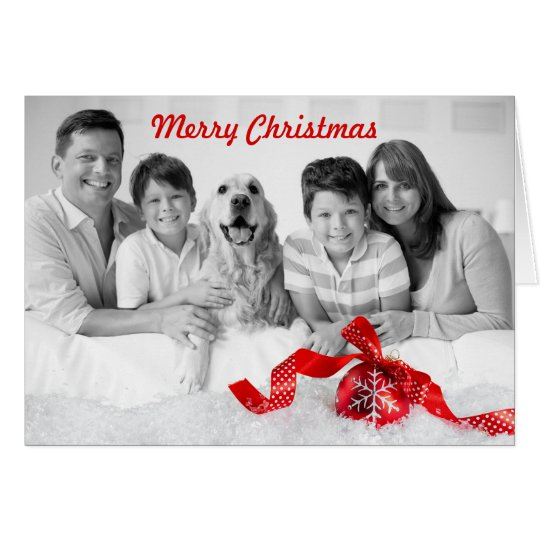 Christmas Black White Family Photo with Red Accent Card