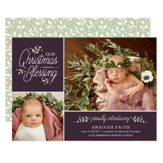 Christmas Blessing Photo Birth Announcement