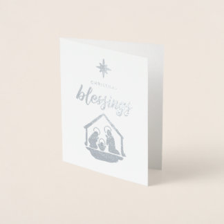 Christmas Blessing Religious Nativity Foil Foil Card