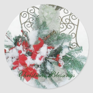 Christmas Blessings Angel Round Sticker