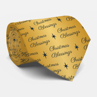 Christmas Blessings Gold & Navy Tie