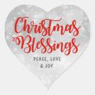 Christmas Blessings Peace, Love Joy Heart Sticker