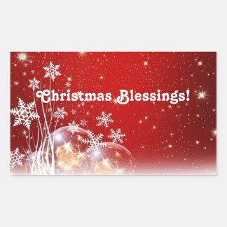 Christmas Blessings Rectangular Sticker