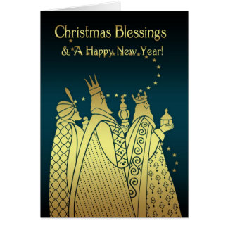 Christmas Blessings - Three Wise Men - Gold Effect Card