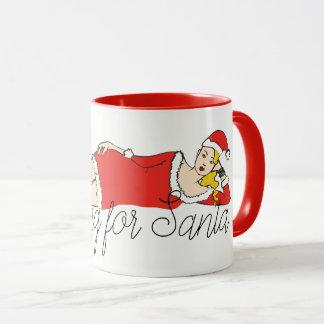 Christmas Blonde Pretty Girl Waiting for Santa Red Mug