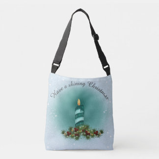 Christmas Blue and Turquoise with Candle Crossbody Bag