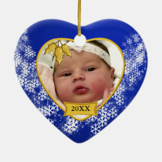 Christmas Blue Baby's Photo Heart Ceramic Heart Decoration