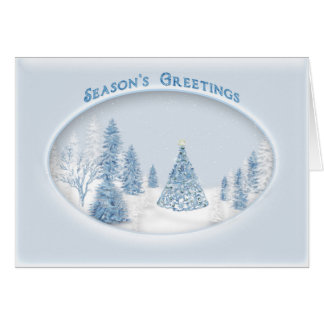 CHRISTMAS BLUE ELEGANCE - SNOW/TREE/SCENIC CARD