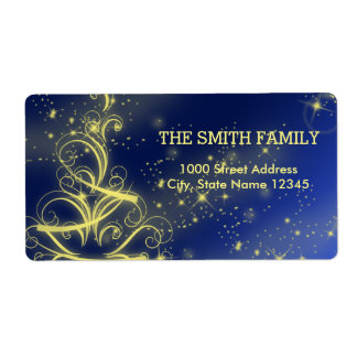 Christmas Blue Gold Sparkle Snowflake Shipping Label