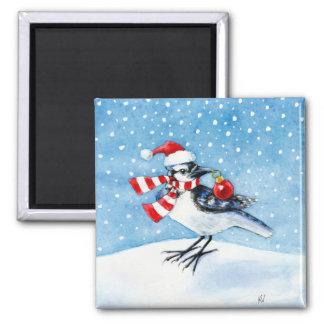 Christmas Blue Jay Magnet