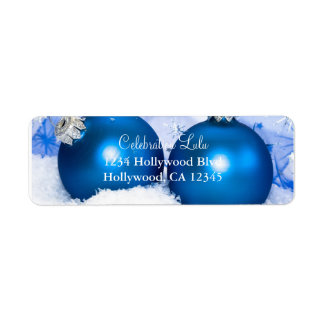 Christmas Blue Ornaments Return Address Label