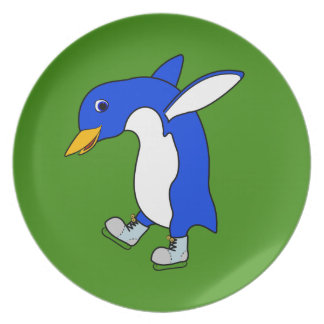 Christmas Blue Penguin with Silver Ice Skates Party Plate