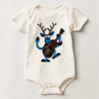 Christmas Blue Reindeer Dancing Baby Bodysuit