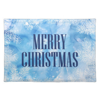 Christmas | Blue Snow & Ice Winter Placemat