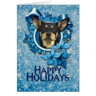 Christmas - Blue Snowflake - Australian Kelpie Greeting Card