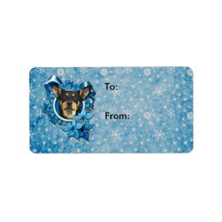 Christmas - Blue Snowflake - Australian Kelpie Address Label