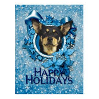 Christmas - Blue Snowflake - Australian Kelpie Postcard