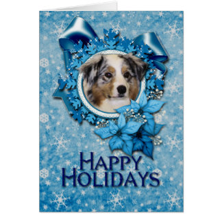 Christmas - Blue Snowflake - Australian Shepherd Card