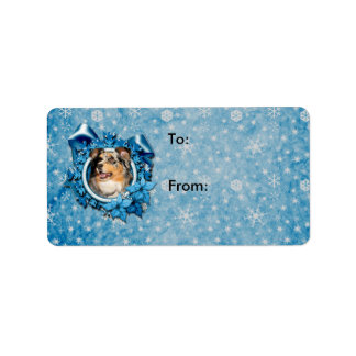 Christmas - Blue Snowflake - Australian Shepherd Address Label