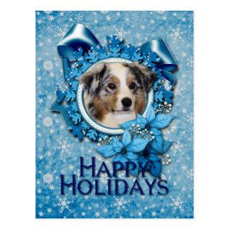 Christmas - Blue Snowflake - Australian Shepherd Postcard