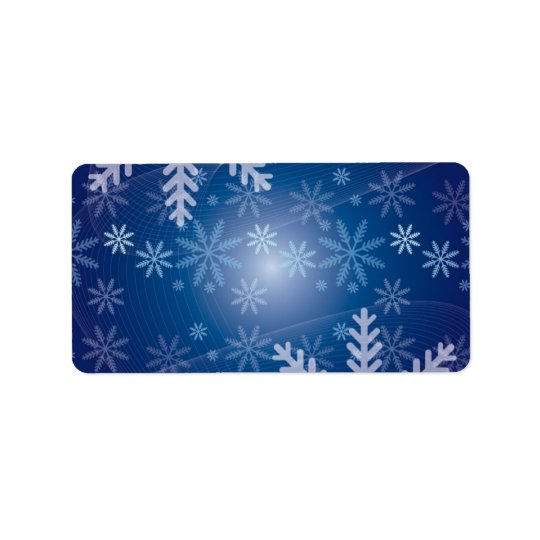 Christmas Blue Snowflake Background Label