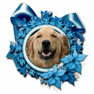 Christmas - Blue Snowflake - Golden Retriever Photo Sculpture Decoration