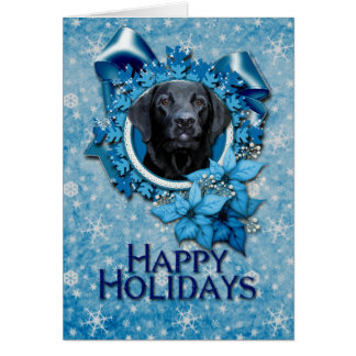 Christmas - Blue Snowflake - Labrador - Black Gage Card