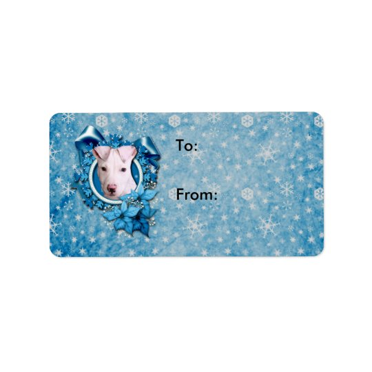 Christmas - Blue Snowflake - Pitbull - Petey Address Label