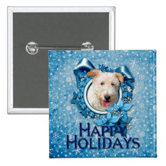 Christmas - Blue Snowflake Wire Fox Terrier Hailey Pins
