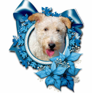 Christmas - Blue Snowflake Wire Fox Terrier Hailey Photo Sculpture Decoration