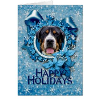 Christmas - Blue Snowflakes - Swiss Mountain Dog Card
