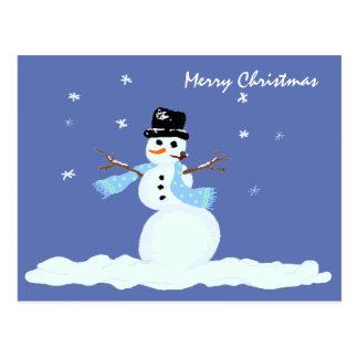 Christmas Blue Snowman Postcard Greeting