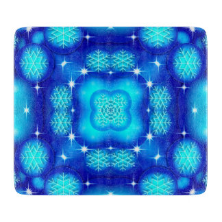 Christmas blue white snowflake pattern cutting board