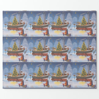 Christmas boat in snow wrapping paper