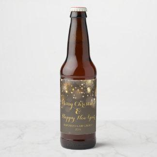 Christmas Bokeh Beer Bottle Label