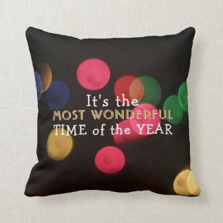 Christmas Bokeh Holiday Most Wonderful Time Cushion
