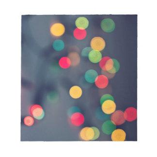 Christmas bokeh lights notepad