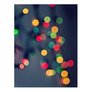 Christmas bokeh lights postcard