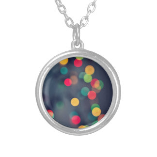 Christmas bokeh lights silver plated necklace
