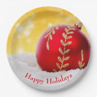 Christmas Bokeh Snow Christmas Ball Paper Plate