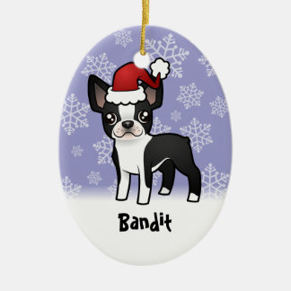 Christmas Boston Terrier add your pets name Christmas Ornament