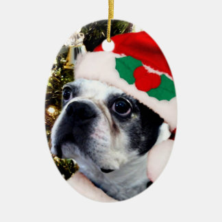 Christmas boston terrier ceramic ornament