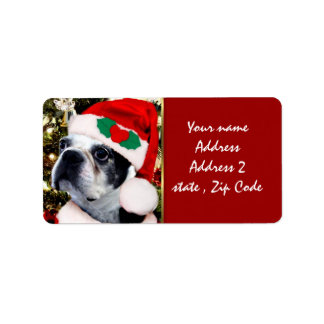 Christmas Boston terrier Label