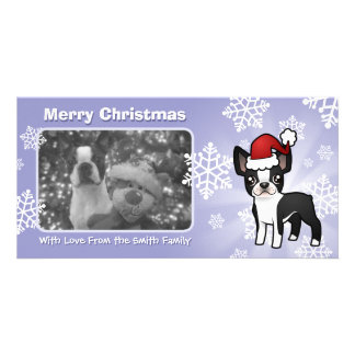 Christmas Boston Terrier Personalised Photo Card
