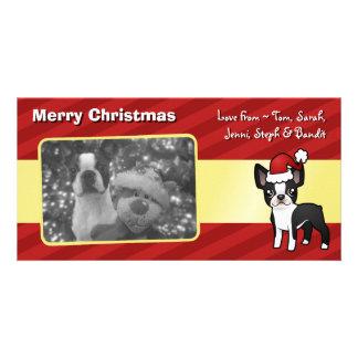 Christmas Boston Terrier Photo Card Template