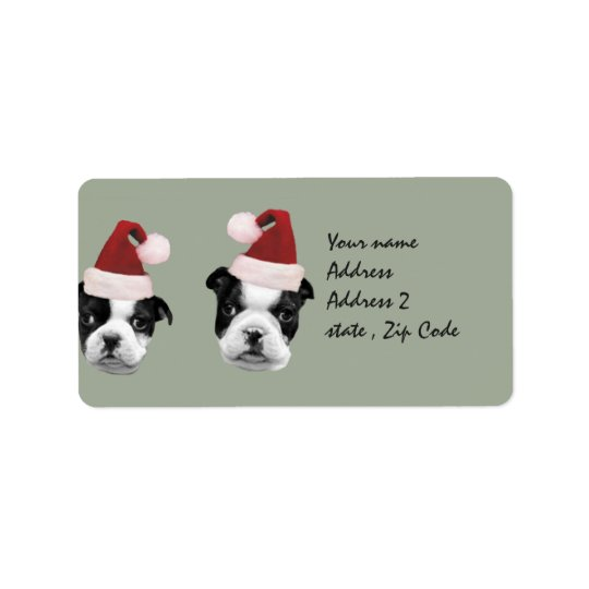 Christmas Boston Terrier puppies Address Label