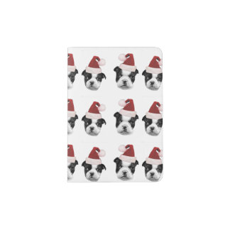 Christmas Boston Terrier puppies Passport Holder